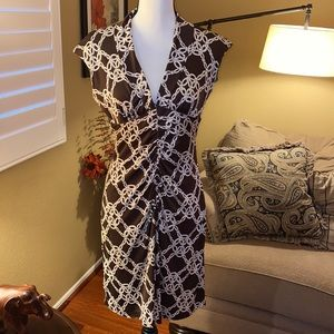 Brown Knot Print Ruched Work/Office Dress Sz 6